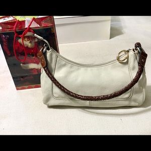 FOSSIL SMALL CREAM COLORED LEATHER SHOULDER BAG